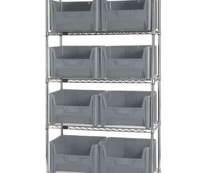 quantum storage wire shelving unit 42''W Wire Shelving Unit with 8 Giant Stack Bins, Gray Quantum Storage Wire Shelving Unit Cleaver 42''W Wire Shelving Unit With 8 Giant Stack Bins, Gray Collections