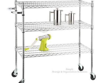 rolling chrome wire shelving 3 tier chrome plated metal rolling cart with handle -, mobile Rolling Chrome Wire Shelving Perfect 3 Tier Chrome Plated Metal Rolling Cart With Handle -, Mobile Ideas