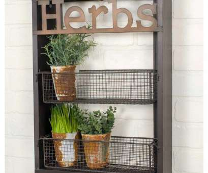 rustic wire mesh baskets Rustic Wall Shelf With Wire Baskets, Label 'Herbs', stock photo t-shirts, designers Rustic Wire Mesh Baskets Practical Rustic Wall Shelf With Wire Baskets, Label 'Herbs', Stock Photo T-Shirts, Designers Collections