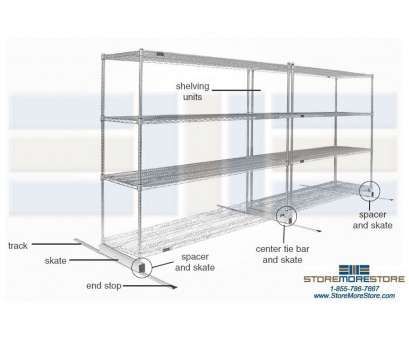 sliding wire storage shelves Compact Wire Shelves on Rails, (19' Wide x 7' Long x 6' 2