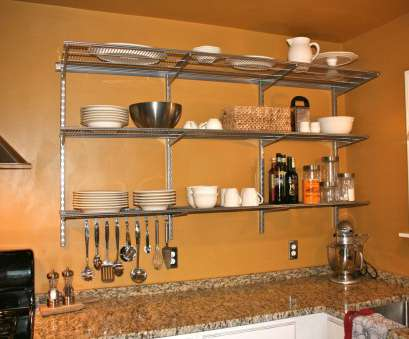steel wire kitchen shelving L, Three Tier Floating Wire Shelves With Steel Bracket, Plates Storage Attached On Orange Painted Wall Steel Wire Kitchen Shelving Top L, Three Tier Floating Wire Shelves With Steel Bracket, Plates Storage Attached On Orange Painted Wall Images