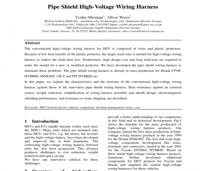 sumitomo electric wiring systems (europe) limited (PDF) Pipe Shield High-Voltage Wiring Harness Sumitomo Electric Wiring Systems (Europe) Limited New (PDF) Pipe Shield High-Voltage Wiring Harness Photos