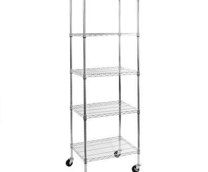 Tall Narrow Wire Shelving Practical Seville 5-Tier UltraZinc, Steel Wire Shelving /W Wheels 18X24X72 SHE18240ZB Galleries