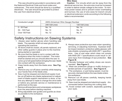 when is wire size in electrical hazard Safety instructions on sawing systems, General electrical cautions, Wilton 7020/7040 User Manual, Page, 28 When Is Wire Size In Electrical Hazard Best Safety Instructions On Sawing Systems, General Electrical Cautions, Wilton 7020/7040 User Manual, Page, 28 Images