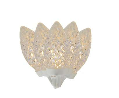 white c9 christmas lights with white wire 100 Commercial Length Warm White, Faceted C9 Christmas Lights on Spool 5
