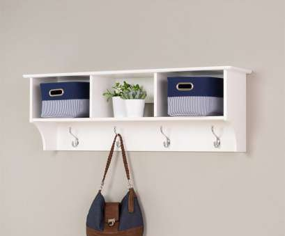 white wire shelf with hooks Prepac Furniture White 8-Hook Wall Mounted Coat Rack White Wire Shelf With Hooks Best Prepac Furniture White 8-Hook Wall Mounted Coat Rack Solutions