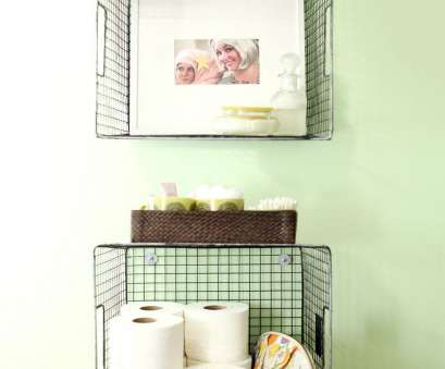 wire basket storage for bathroom Hanging wire baskets, vertical storage is such a cute, to organize your bathroom! Click through, styling tips, hanging directions 11 Brilliant Wire Basket Storage, Bathroom Pictures