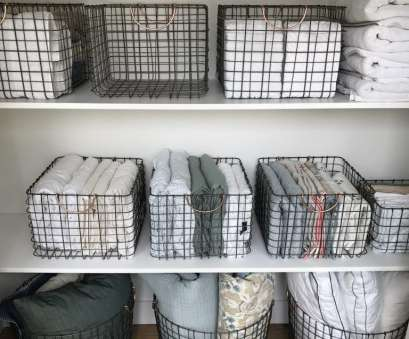 wire basket storage closet hall closet organization, storage ideas, linen closet wire baskets 20 Best Wire Basket Storage Closet Solutions