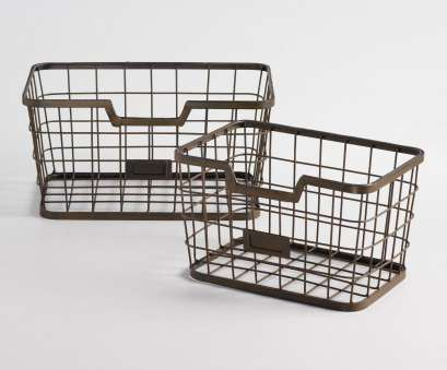 Wire Basket Storage Industrial Top Crafted Of Wire With Sturdy Metal Frames, Rust-Inspired Distressing,, Espresso-Toned Storage Baskets Boast Vintage Industrial Appeal Pictures