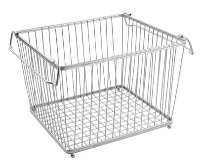 Wire Basket Storage Pantry Top York Stackable Wire Pantry Basket, Chrome In Wire Baskets Ideas