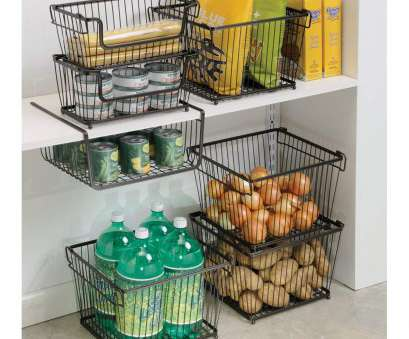 wire basket storage solutions Amazon.com: InterDesign York Lyra Kitchen Pantry Under Shelf Organizer Basket, Bronze: Home & Kitchen 18 Top Wire Basket Storage Solutions Ideas
