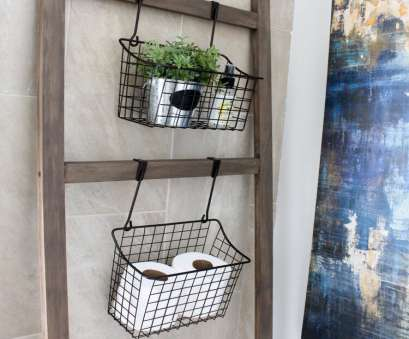 wire basket towel storage Wooden Ladder Floating Storage with Wire Baskets Wire Basket Towel Storage Professional Wooden Ladder Floating Storage With Wire Baskets Pictures