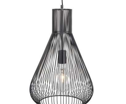 Wire Cage Pendant Light Australia Cleaver Brilliant, CARDIN Wire Teardrop Cage Pendant, Black Images