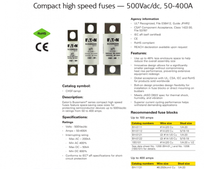 wire gauge amp rating dc BUSSMANN Compact high speed fuses, 500Vac/dc, 50-400A SERIES Technical Data 10414 Wire Gauge, Rating Dc Professional BUSSMANN Compact High Speed Fuses, 500Vac/Dc, 50-400A SERIES Technical Data 10414 Galleries