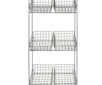 wire mesh display baskets Expressly HUBERT® Silver Wire 3-Tier Countertop Display Stand With 6 Baskets, 12 1/4