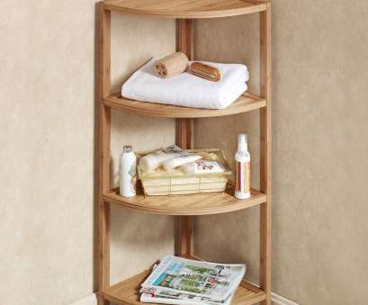 wire rack shelving ideas ... brown wooden corner shelves with four racks connected beige wall interior adorable glass shower shelf, bathroom shelves ideas 10 Creative Wire Rack Shelving Ideas Solutions