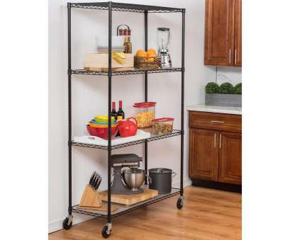 wire shelf rack kitchen Trinity 48, x 18, x 72, 4-Tier Wire Shelving Rack in Black Includes Wheels, Liners Wire Shelf Rack Kitchen Brilliant Trinity 48, X 18, X 72, 4-Tier Wire Shelving Rack In Black Includes Wheels, Liners Photos