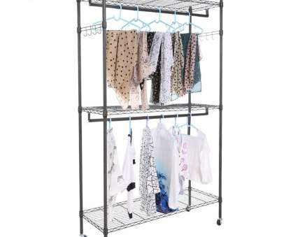 wire shelving garment rack Homdox Large Portable 3 Tier Wire Shelving Clothes Shelf Garment Rack & Side Hooks & Wheels Frome US Shipping-in Storage Holders & Racks from Home & Garden 16 Cleaver Wire Shelving Garment Rack Collections