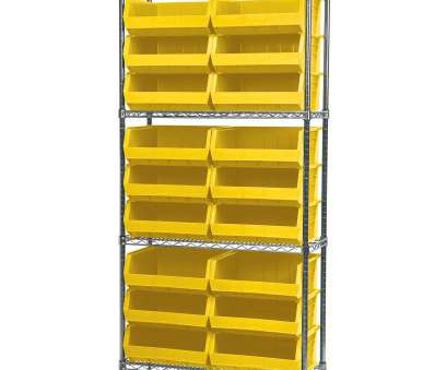 wire shelving with bins Wire Shelving Kit, 14x36x74, 18 Bins, Chrome/Yellow (AWS143630250Y). This item sold in carton quantities of 1 Wire Shelving With Bins Creative Wire Shelving Kit, 14X36X74, 18 Bins, Chrome/Yellow (AWS143630250Y). This Item Sold In Carton Quantities Of 1 Photos