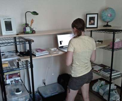 wire shelving with desk My, Standing Desk, Cheap Standing Desk, Pinterest, Plank 19 Perfect Wire Shelving With Desk Solutions