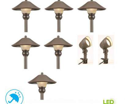 wired landscape lighting sets Hampton, Low-Voltage Bronze Outdoor Integrated, Landscape Path Light, Flood Light, (8-Pack) 15 Practical Wired Landscape Lighting Sets Images