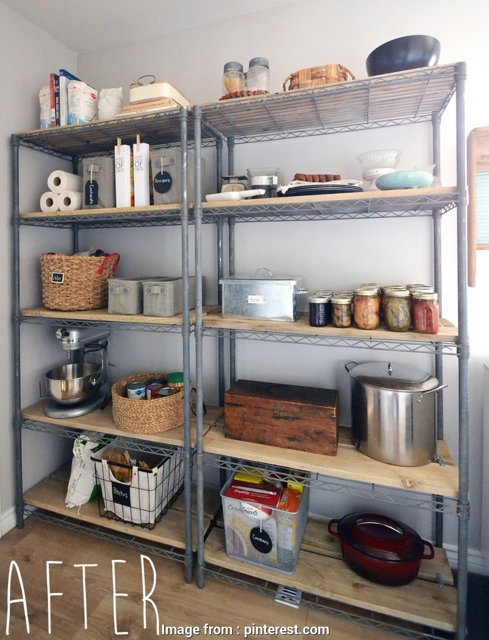 wire closet shelving makeover Rustic farmhouse pantry shelving makeover from basic wire shelving 11 Brilliant Wire Closet Shelving Makeover Galleries