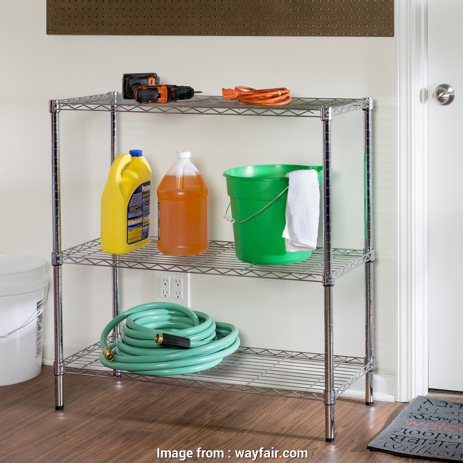 wire grid shelving units over the washer/dryer 36