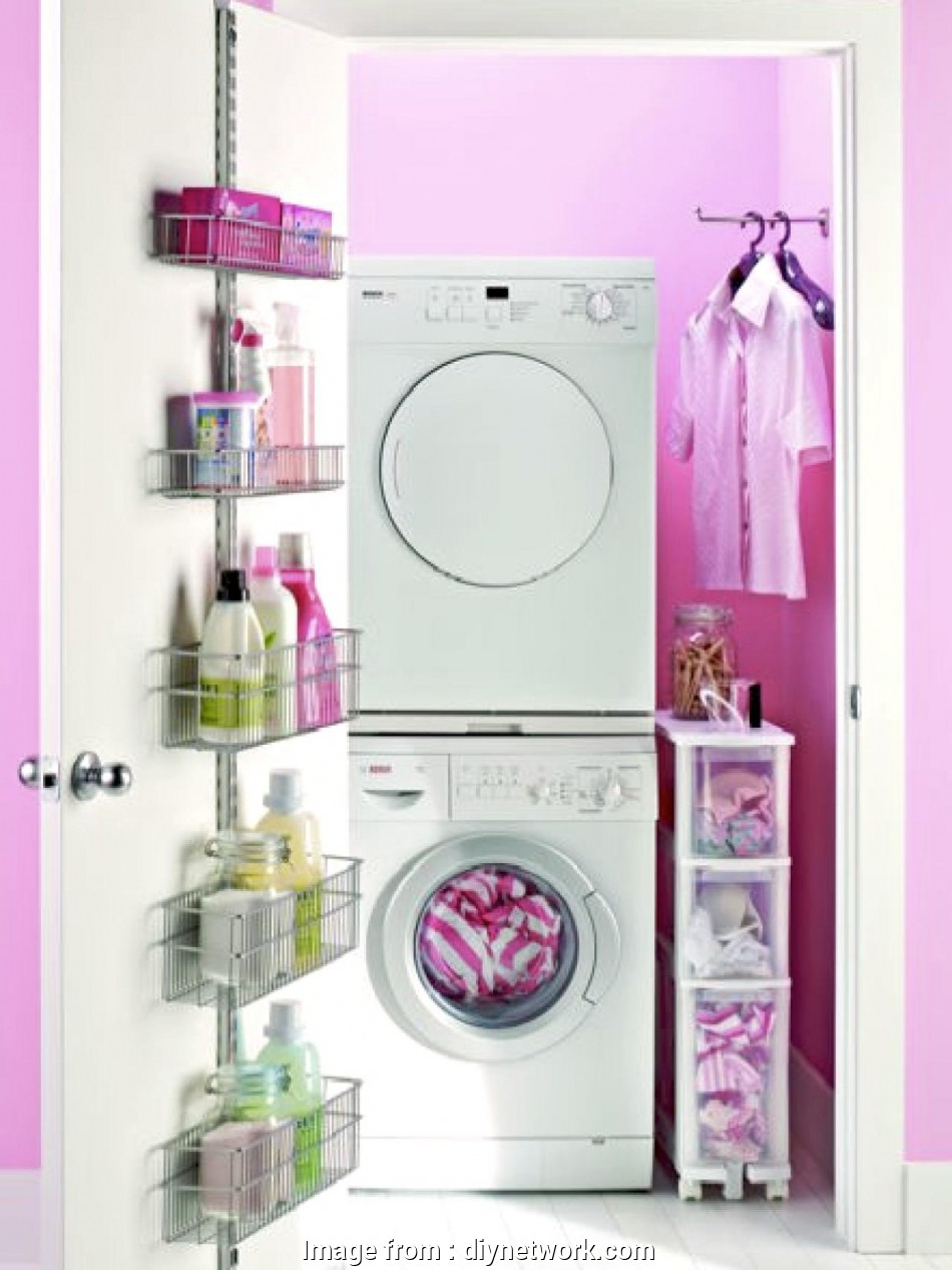 wire grid shelving units over the washer/dryer Laundry Room Storage Ideas, DIY Wire Grid Shelving Units Over, Washer/Dryer Simple Laundry Room Storage Ideas, DIY Photos
