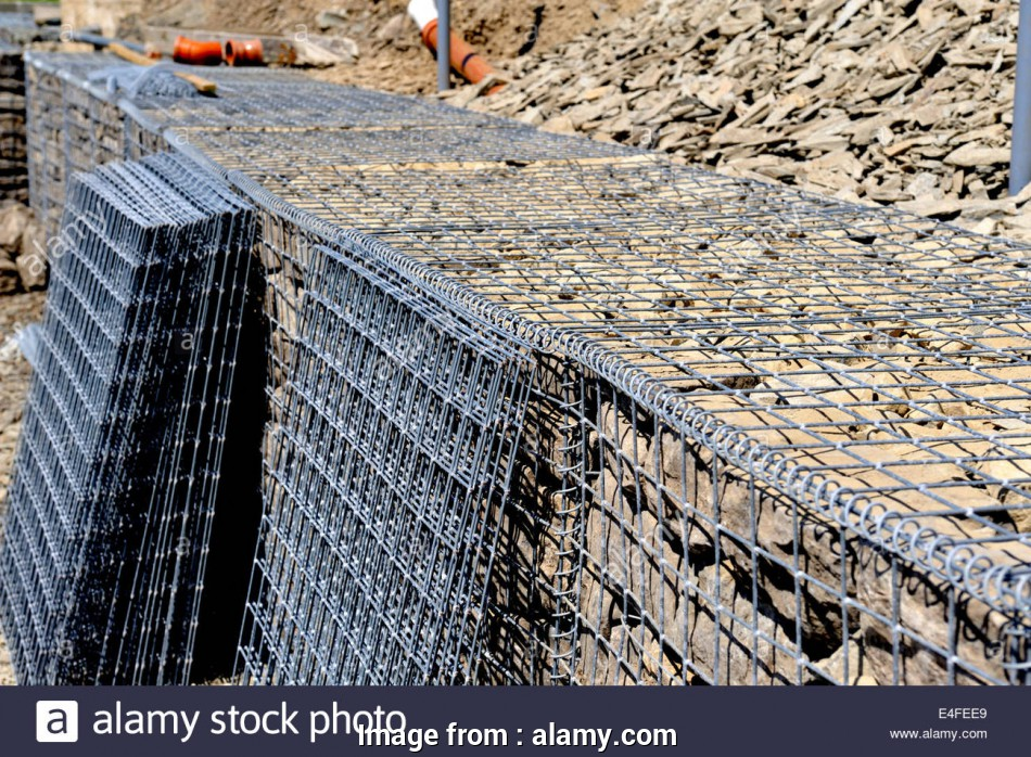wire mesh rock baskets Detail of galvanized wire mesh babion being filled with rock, slope stabilization, spare basket sides, Aberporth, Wales 9 Fantastic Wire Mesh Rock Baskets Photos