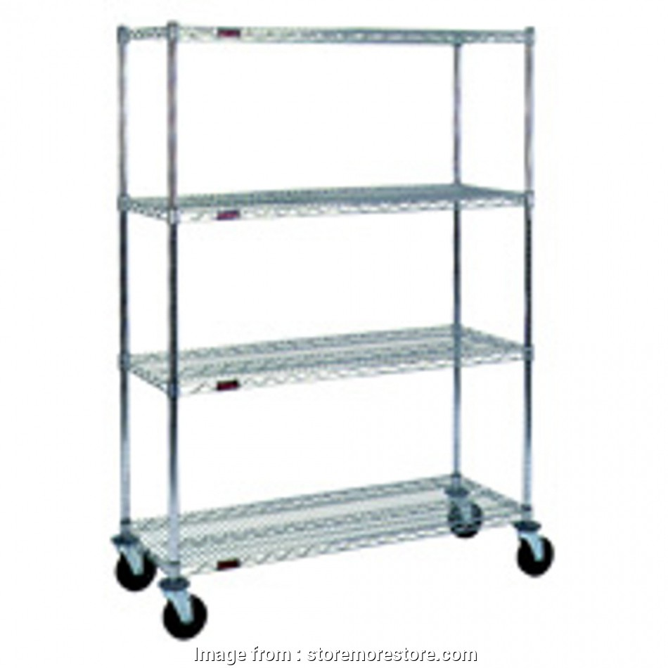 wire rack shelving with casters Rolling Wire Storage Shelving Cart (60