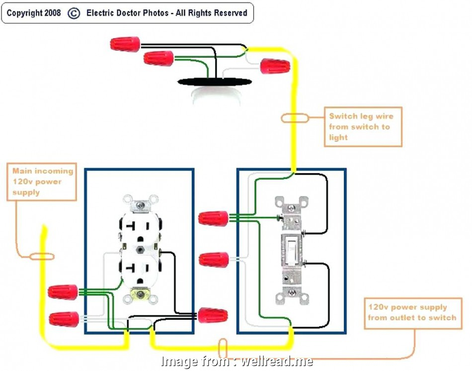 wiring a switch to a light and an outlet Outlet To Switch Light Wiring Diagram Combo Control Volt With, Inside 20 Practical Wiring A Switch To A Light, An Outlet Images