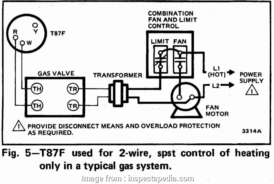 wiring diagram of thermostat most honeywell t87f