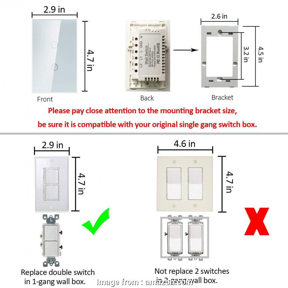 wiring a 4 switch gang box Smart Wifi Light Switches, Touch Wall Switch Panel, Replace 2 Switches in 1 Gang Wall Box, Combination Switch Compatible with Alexa, Smartphone, Control 16 Practical Wiring, Switch Gang Box Ideas