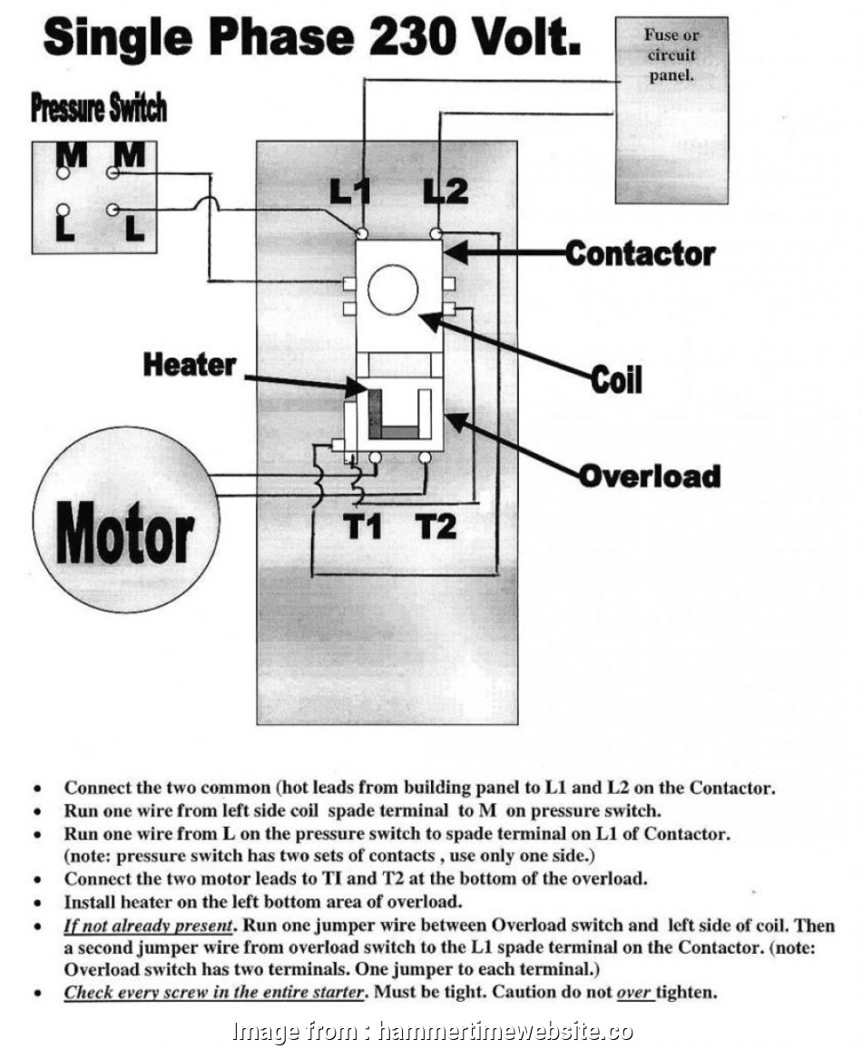 Motor Contactor Wiring Diagram Electrical Schematics Ac 14 Perfect 240v Starter Solutions Tone Tastic
