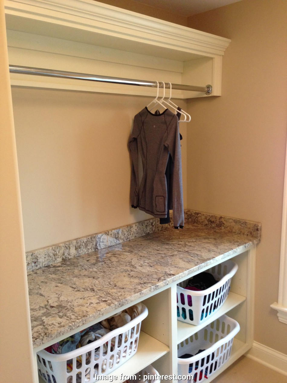 hanging steel wire shelf for laundry rooms and closets in classic white Incredibly Clever Basement Laundry Room Ideas basement laundry room #basement #DIY (laundry room 20 Simple Hanging Steel Wire Shelf, Laundry Rooms, Closets In Classic White Galleries