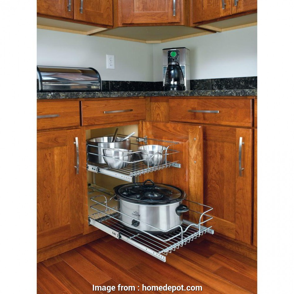 kitchen cabinet wire shelving Rev-A-Shelf 19, H x 14.75, W x 22, D Base Cabinet Pull-Out Chrome 2-Tier Wire Basket 9 Creative Kitchen Cabinet Wire Shelving Collections