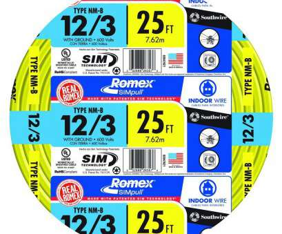 12 Gauge House Wire Popular 12/3 Solid Romex SIMpull CU NM-B, Wire-63947655 -, Home Depot Collections