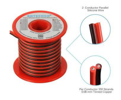 18 Gauge Silicone Wire Brilliant BNTECHGO 18 Gauge Flexible 2 Conductor Parallel Silicone Wire Spool, Black High Resistant, Deg C 600V, Single Color, Strip Extension Cable Cord Ideas