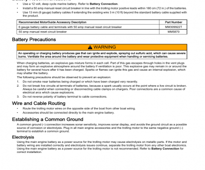 6 gauge boat wire Standard practice, procedures, Battery recommendations, Battery precautions, MotorGuide Wireless User Manual, Page 16 / 32 6 Gauge Boat Wire New Standard Practice, Procedures, Battery Recommendations, Battery Precautions, MotorGuide Wireless User Manual, Page 16 / 32 Galleries
