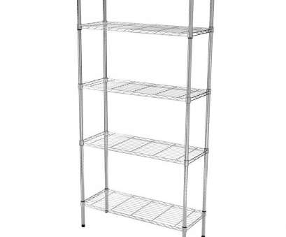 chrome wire shelving clips HDX 36-inch W 5-Tier Heavy Duty Shelving Unit in Chrome,, Home Depot Canada 8 Top Chrome Wire Shelving Clips Pictures
