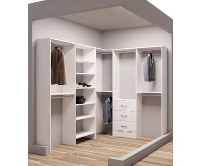 hanging steel wire shelf for laundry rooms and closets in classic white TidySquares Classic Wood 75-inch x 102.25-inch Corner Walk-in Closet Organizer Hanging Steel Wire Shelf, Laundry Rooms, Closets In Classic White Nice TidySquares Classic Wood 75-Inch X 102.25-Inch Corner Walk-In Closet Organizer Pictures