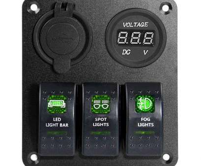 How To Wire A Light Switch From Panel Nice Amazon.Com : Proelectric Green, Light #1 Waterproof Marine/Boat, Switch Panel 3 Gang, Charger Voltage Indicator Power Socket 5, On, Rocker Pictures