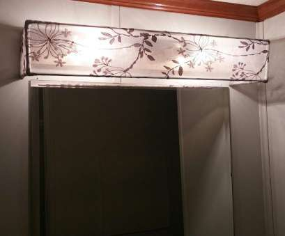 how to wire a vanity light DIY Vanity Light Shade Dowel rods, a curtain sheer, glued, hung over existing vanity light, with picture wire How To Wire A Vanity Light Brilliant DIY Vanity Light Shade Dowel Rods, A Curtain Sheer, Glued, Hung Over Existing Vanity Light, With Picture Wire Pictures