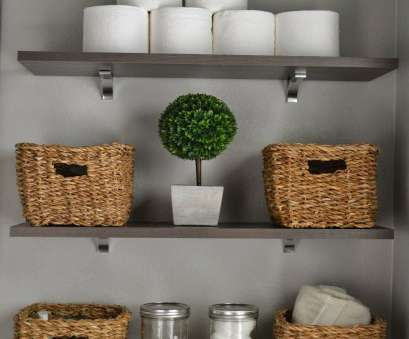 wire basket bathroom shelves Take toilet paper, of, plastic, stack them. Baskets, glass canisters make storage stylish 8 Simple Wire Basket Bathroom Shelves Pictures