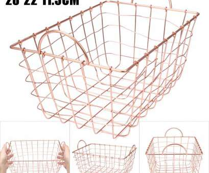 Wire Mesh Baskets South Africa Creative Rose Gold Copper Wire Metal Storage Mesh Basket Handles Filing Crate Rectangle 6930402166445, EBay Images