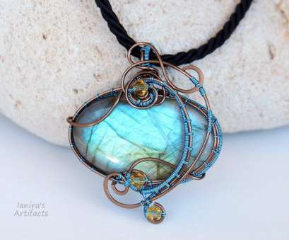 wire wrapped pendant light Light Blue Labradorite wire wrapped pendant by IanirasArtifacts on 20 Perfect Wire Wrapped Pendant Light Collections
