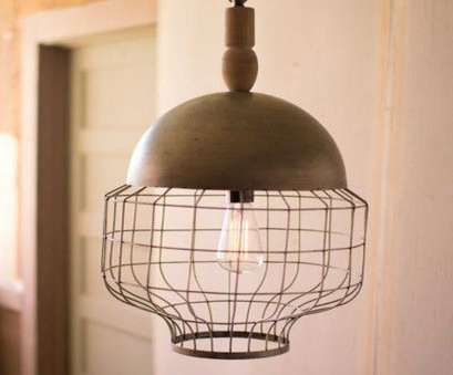 Wood, Wire Pendant Light Simple $181 8 Kalalou Caged Pendant Light With Metal Dome, Turned Wood Finial Solutions