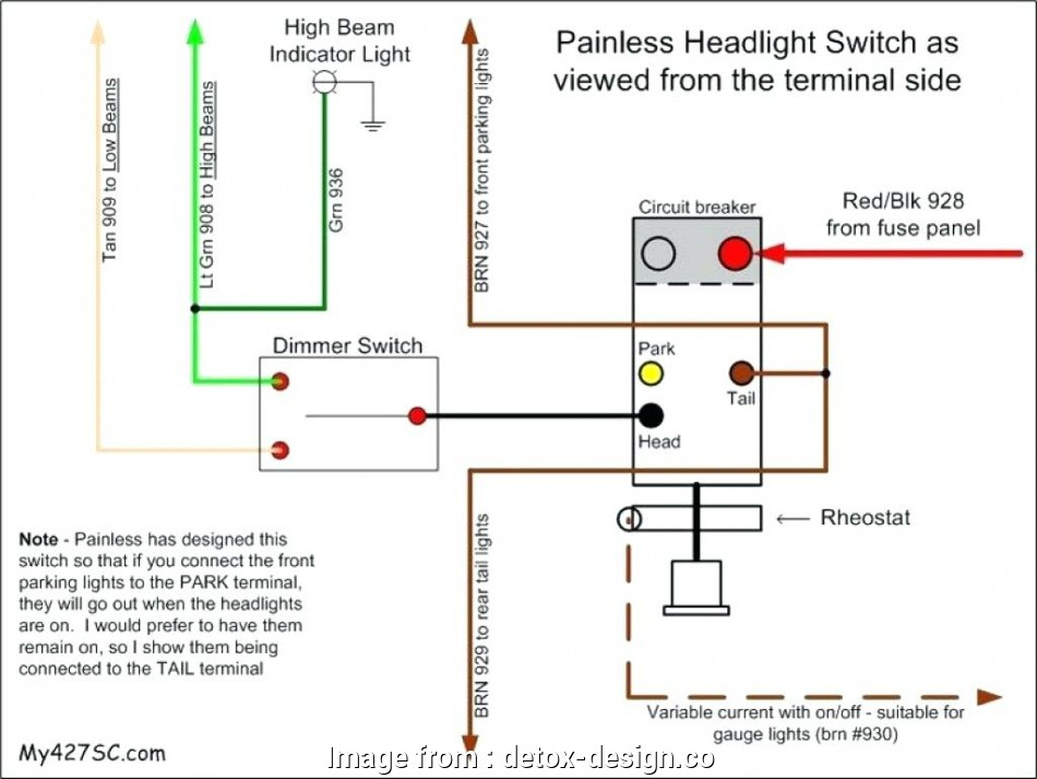 Wiring Diagram  Automotive Switch New Headlight Dimmer Switch Wiring Diagram Chunyan Me Rh
