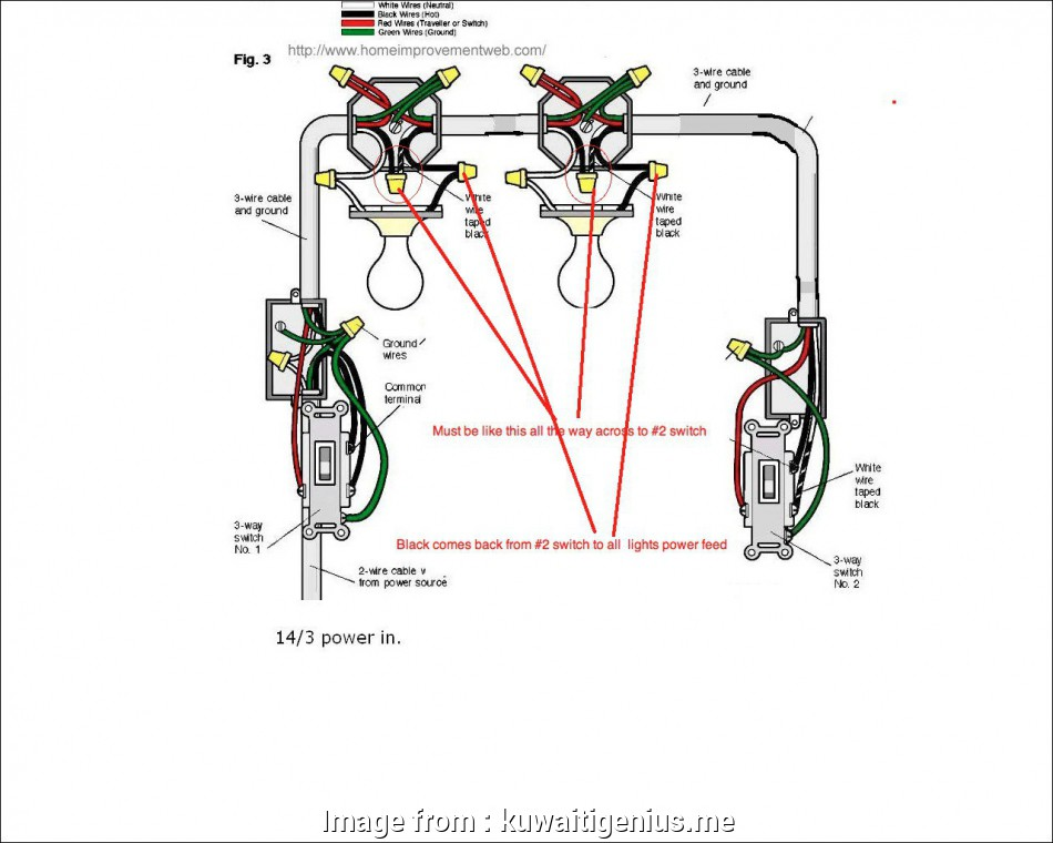 Wiring Diagram  Three  Switch With Multiple Lights Practical Wiring Diagrams  A Three  Switch
